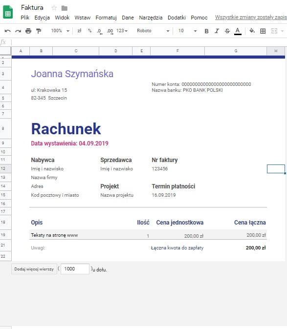 działalność nierejestrowana przykład rachunku plik dysk google